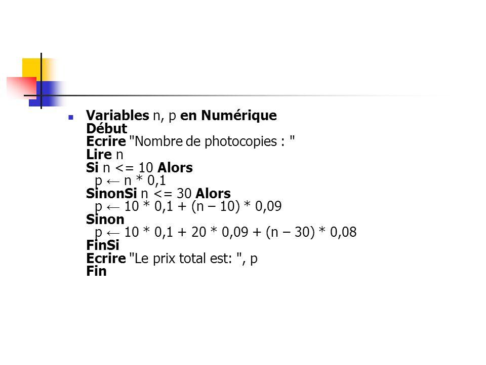 Variables n, p en Numérique Début Ecrire