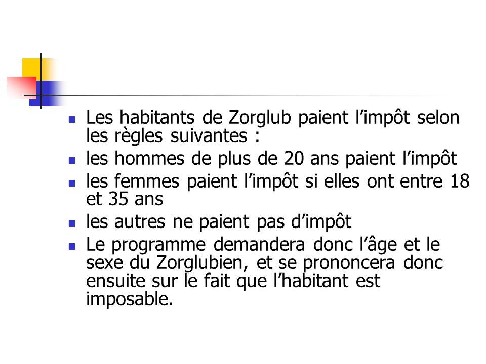 Les habitants de Zorglub paient limpôt selon les règles suivantes : les hommes de plus de 20 ans paient limpôt les femmes paient limpôt si elles ont e