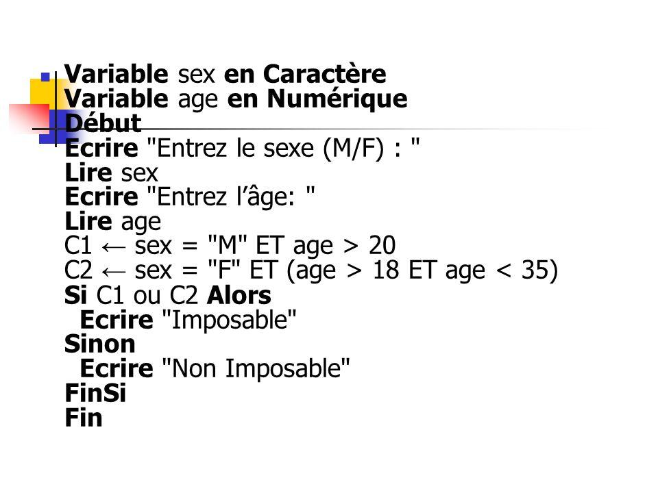 Variable sex en Caractère Variable age en Numérique Début Ecrire