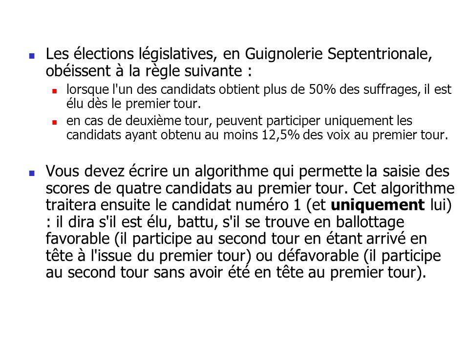 Les élections législatives, en Guignolerie Septentrionale, obéissent à la règle suivante : lorsque l'un des candidats obtient plus de 50% des suffrage