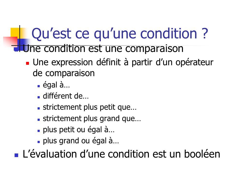 Quest ce quune condition ? Une condition est une comparaison Une expression définit à partir dun opérateur de comparaison égal à… différent de… strict