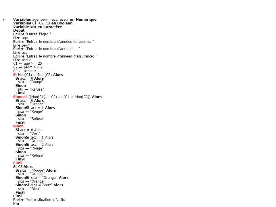 Variables age, perm, acc, assur en Numérique Variables C1, C2, C3 en Booléen Variable situ en Caractère Début Ecrire