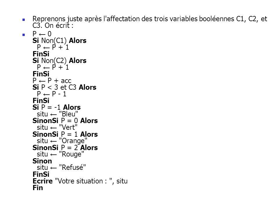 Reprenons juste après l'affectation des trois variables booléennes C1, C2, et C3. On écrit : P 0 Si Non(C1) Alors P P + 1 FinSi Si Non(C2) Alors P P +