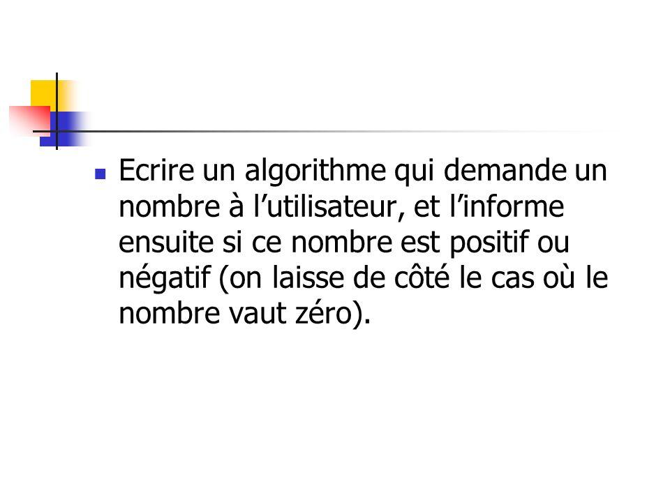 Variable n en Entier Début Ecrire Entrez un nombre : Lire n Si n > 0 Alors Ecrire Ce nombre est positif Sinon Ecrire Ce nombre est négatif Finsi Fin