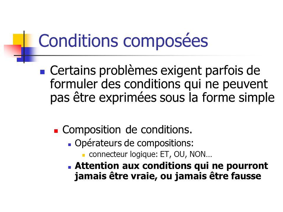 Conditions composées Certains problèmes exigent parfois de formuler des conditions qui ne peuvent pas être exprimées sous la forme simple Composition