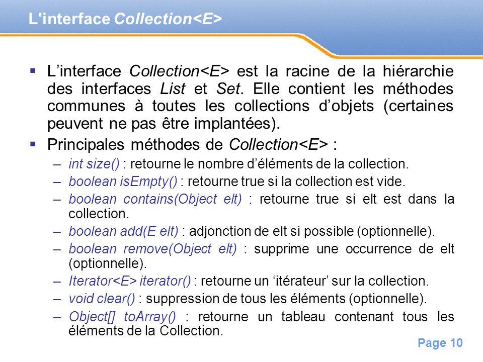 Page 10 Linterface Collection est la racine de la hiérarchie des interfaces List et Set. Elle contient les méthodes communes à toutes les collections