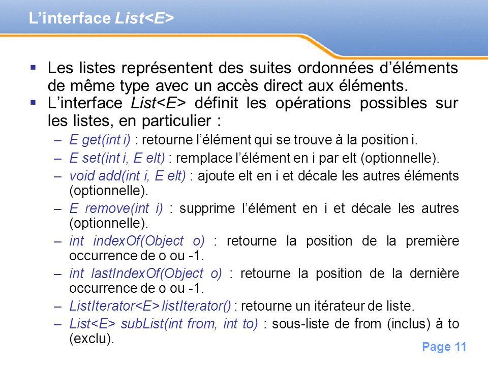 Page 11 Les listes représentent des suites ordonnées déléments de même type avec un accès direct aux éléments. Linterface List définit les opérations