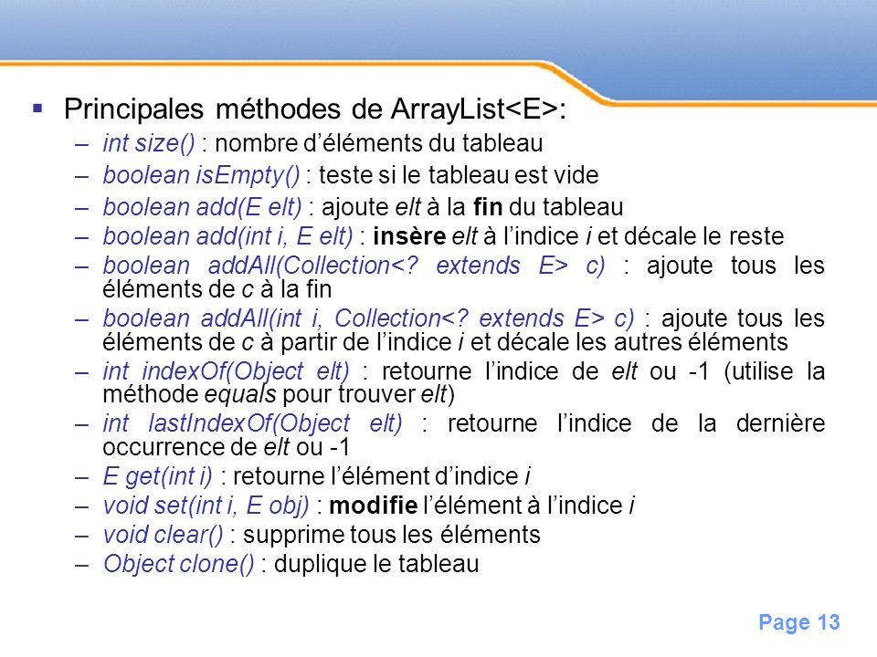 Page 13 Principales méthodes de ArrayList : –int size() : nombre déléments du tableau –boolean isEmpty() : teste si le tableau est vide –boolean add(E
