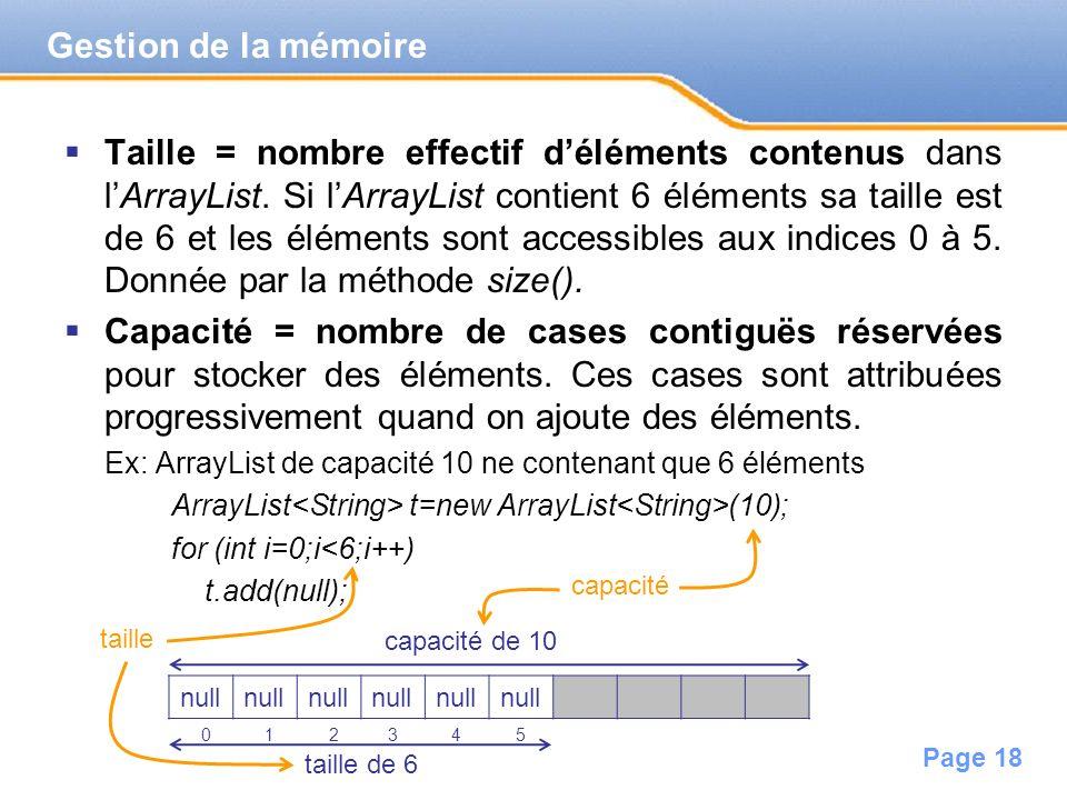Page 18 Taille = nombre effectif déléments contenus dans lArrayList. Si lArrayList contient 6 éléments sa taille est de 6 et les éléments sont accessi