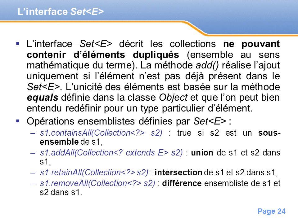 Page 24 Linterface Set décrit les collections ne pouvant contenir déléments dupliqués (ensemble au sens mathématique du terme). La méthode add() réali