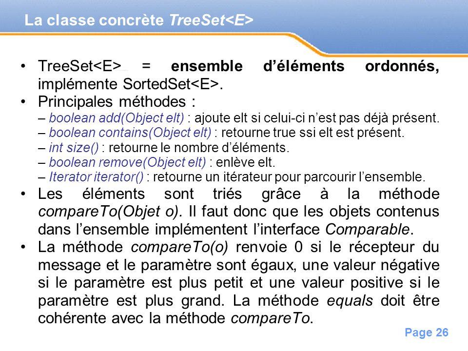 Page 26 TreeSet = ensemble déléments ordonnés, implémente SortedSet. Principales méthodes : – boolean add(Object elt) : ajoute elt si celui-ci nest pa