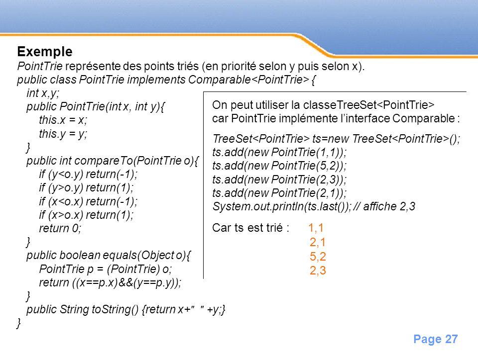 Page 27 Exemple PointTrie représente des points triés (en priorité selon y puis selon x). public class PointTrie implements Comparable { int x,y; publ