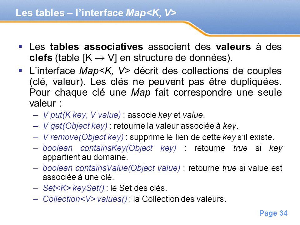 Page 34 Les tables associatives associent des valeurs à des clefs (table [K V] en structure de données). Linterface Map décrit des collections de coup