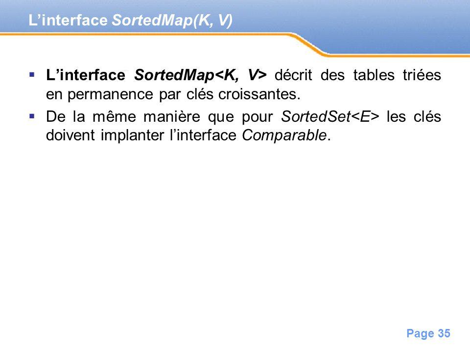 Page 35 Linterface SortedMap décrit des tables triées en permanence par clés croissantes. De la même manière que pour SortedSet les clés doivent impla