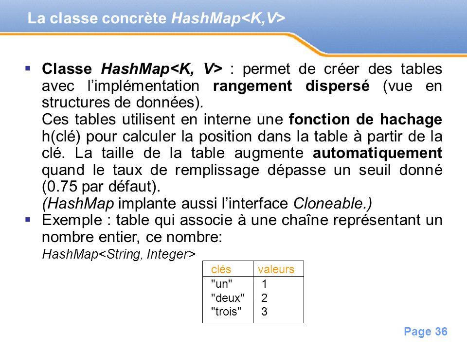 Page 36 La classe concrète HashMap Classe HashMap : permet de créer des tables avec limplémentation rangement dispersé (vue en structures de données).