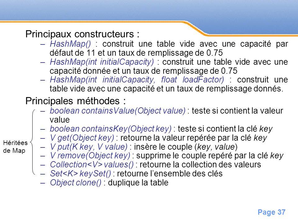 Page 37 Principaux constructeurs : –HashMap() : construit une table vide avec une capacité par défaut de 11 et un taux de remplissage de 0.75 –HashMap