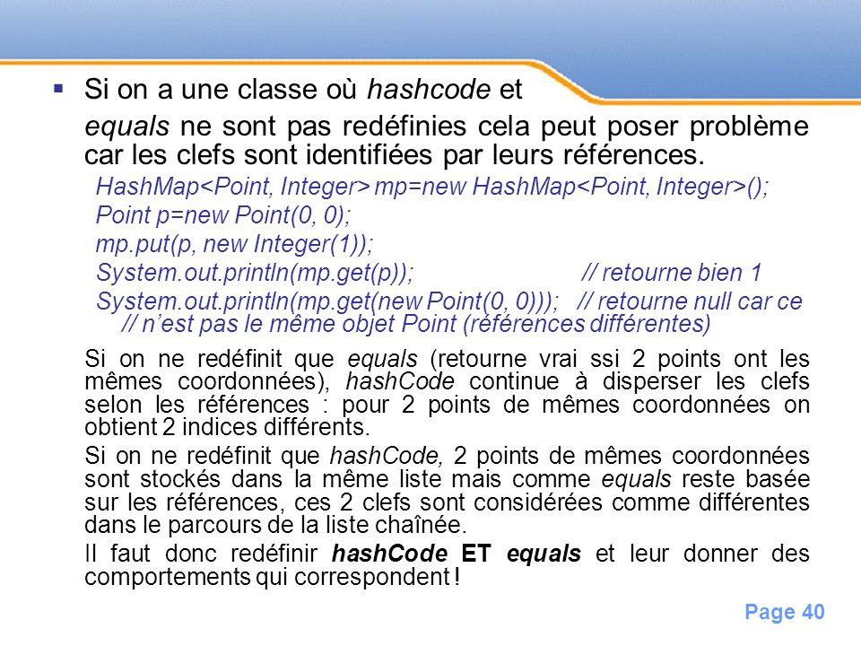 Page 40 Si on a une classe où hashcode et equals ne sont pas redéfinies cela peut poser problème car les clefs sont identifiées par leurs références.
