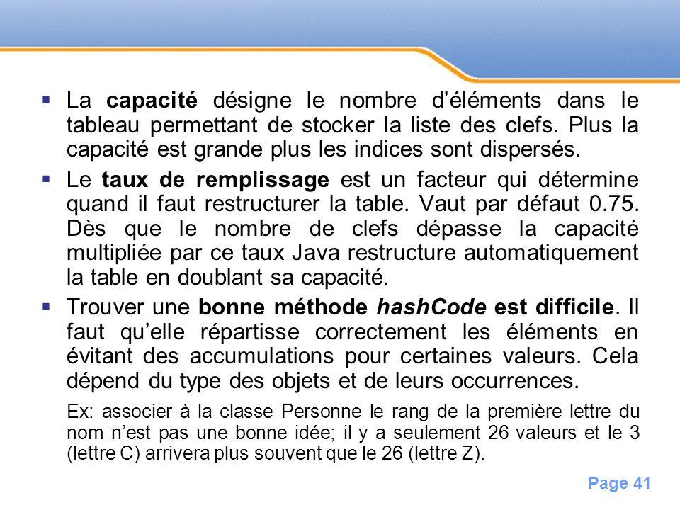 Page 41 La capacité désigne le nombre déléments dans le tableau permettant de stocker la liste des clefs. Plus la capacité est grande plus les indices