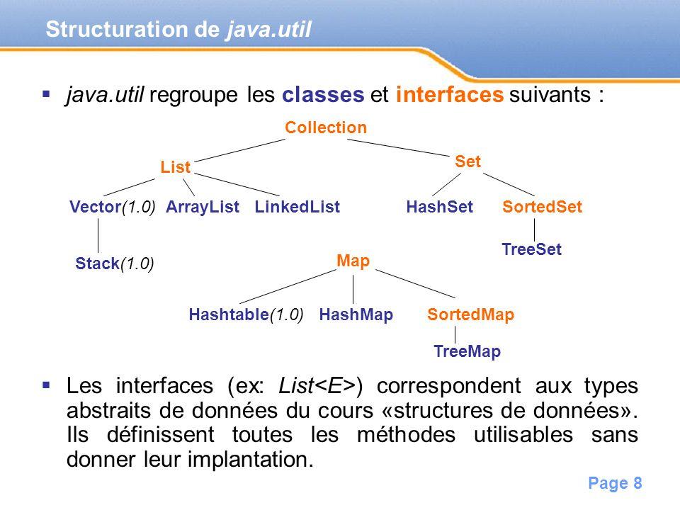 Page 8 java.util regroupe les classes et interfaces suivants : Les interfaces (ex: List ) correspondent aux types abstraits de données du cours «struc