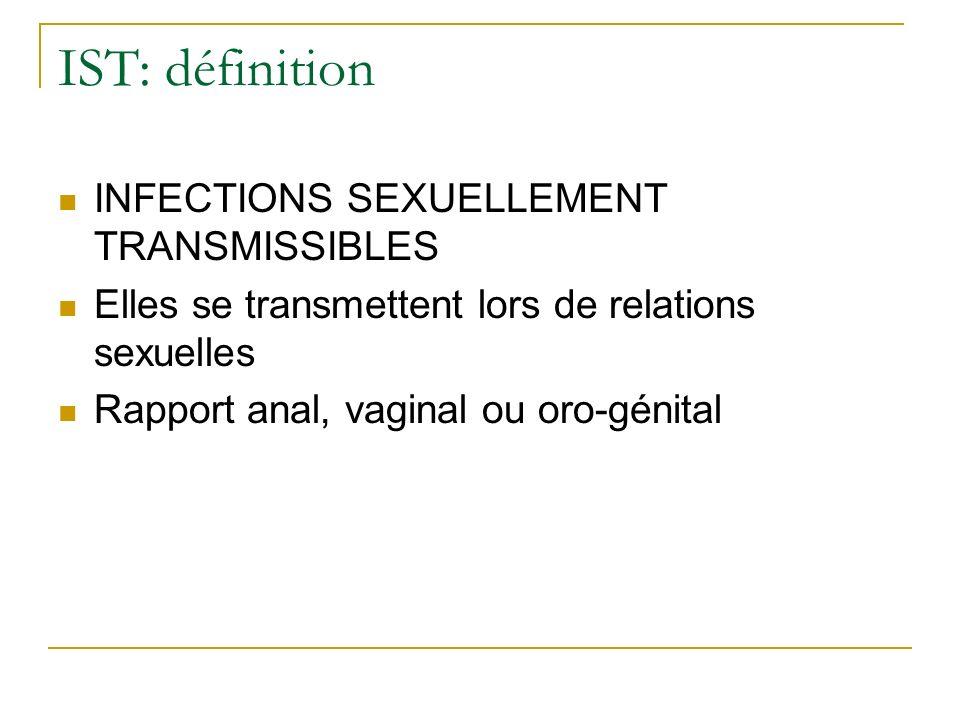 IST: définition INFECTIONS SEXUELLEMENT TRANSMISSIBLES Elles se transmettent lors de relations sexuelles Rapport anal, vaginal ou oro-génital