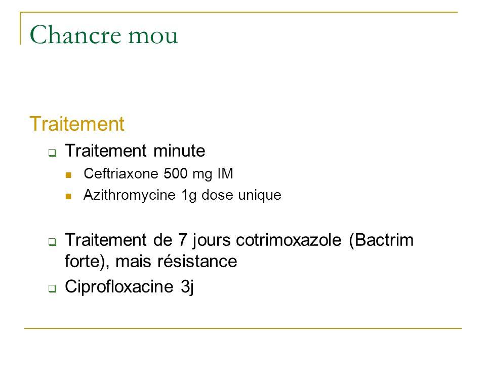 Traitement Traitement minute Ceftriaxone 500 mg IM Azithromycine 1g dose unique Traitement de 7 jours cotrimoxazole (Bactrim forte), mais résistance C