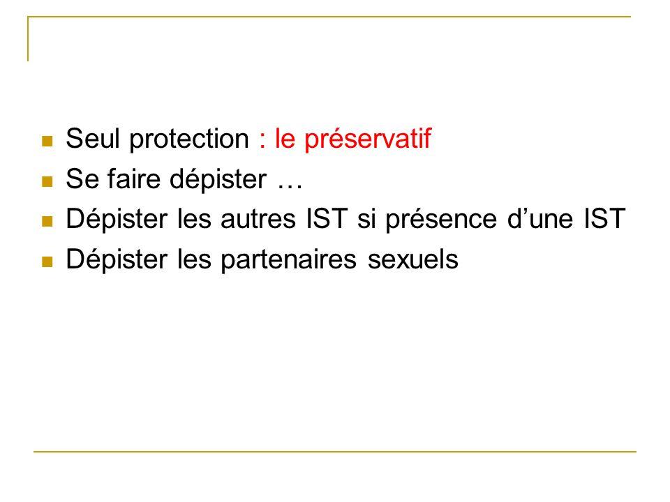 Seul protection : le préservatif Se faire dépister … Dépister les autres IST si présence dune IST Dépister les partenaires sexuels