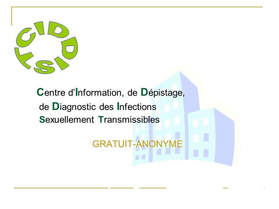 C entre d I nformation, de D épistage, de D iagnostic des I nfections Sexuellement Transmissibles GRATUIT-ANONYME
