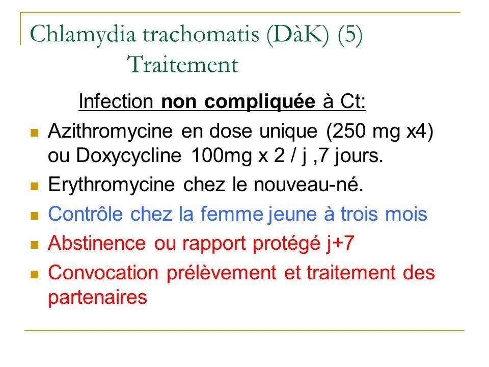 Granulome inguinal : Donovanose Zone tropicale BGN (Corps de Donovan) Calymmatobacterium granulomatis Ulcération indurée, indolore, saignotante + granulomes inguinaux sous cutanés Diagnostic : ED du produit de grattage après coloration Traitement Azithromycine > 14j Tétracycline (doxycycline 200 mg/j) x 15 à 21 j
