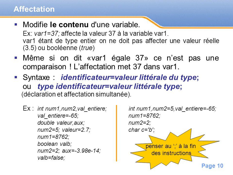 Page 11 Recopie le contenu dune variable dans une autre.