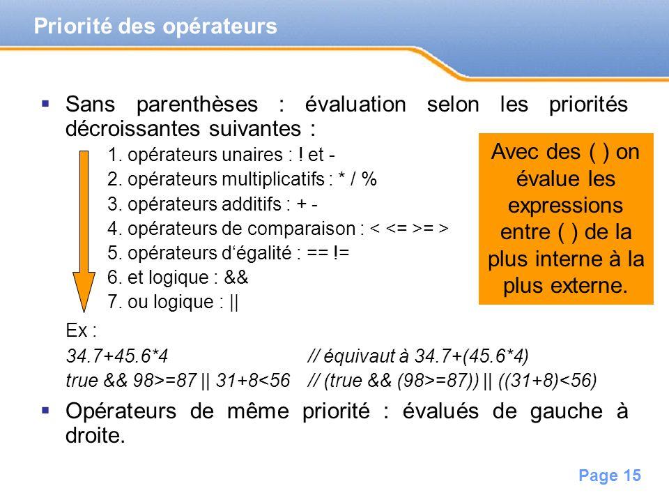 Page 16 Expressions avec des variables qui désignent la valeur quelles contiennent.