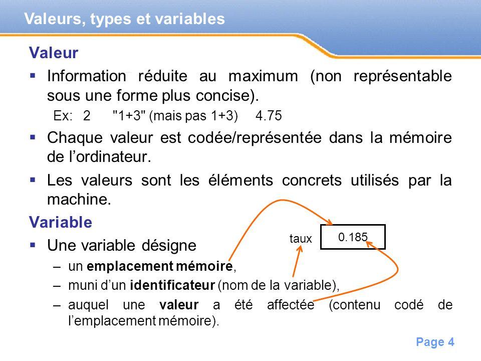 Page 5 Ne pas confondre variable et valeur.La valeur change pendant lexécution du programme.