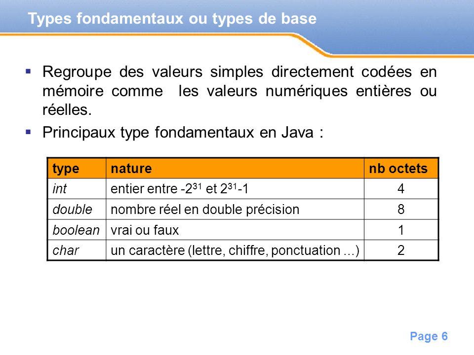 Page 7 Valeurs appartenant aux types fondamentaux.