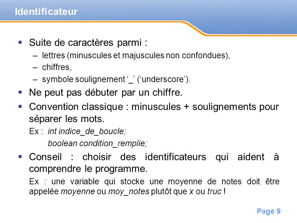 Page 10 Modifie le contenu d une variable.Ex: var1=37; affecte la valeur 37 à la variable var1.
