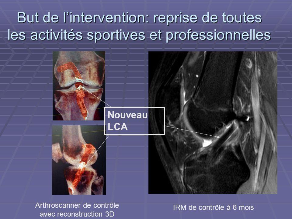 But de lintervention: reprise de toutes les activités sportives et professionnelles IRM de contrôle à 6 mois Arthroscanner de contrôle avec reconstruc