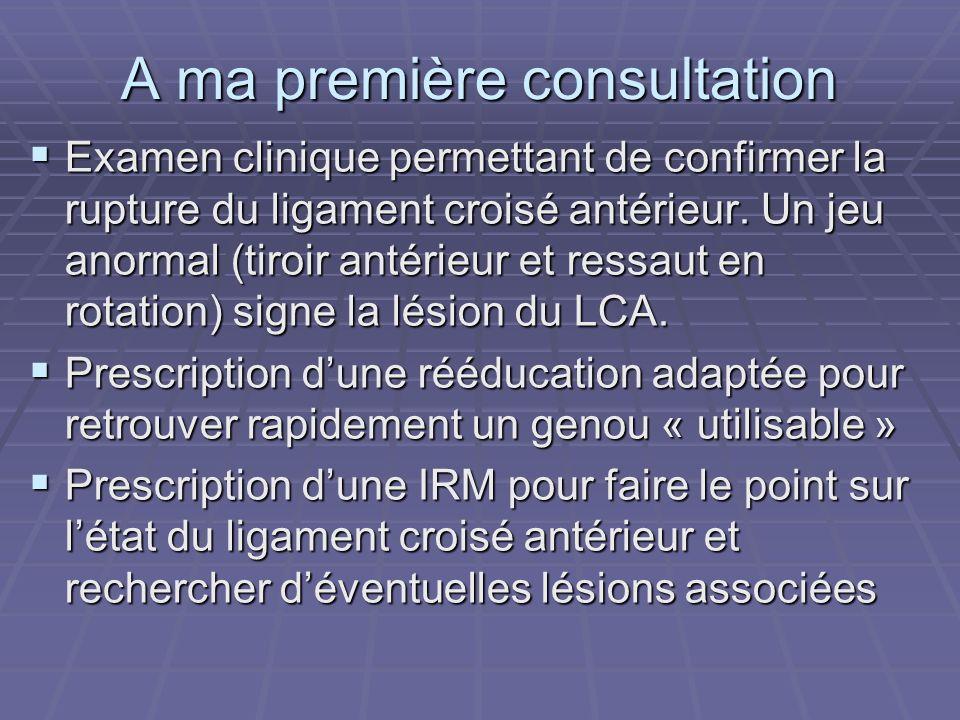A ma première consultation Examen clinique permettant de confirmer la rupture du ligament croisé antérieur. Un jeu anormal (tiroir antérieur et ressau