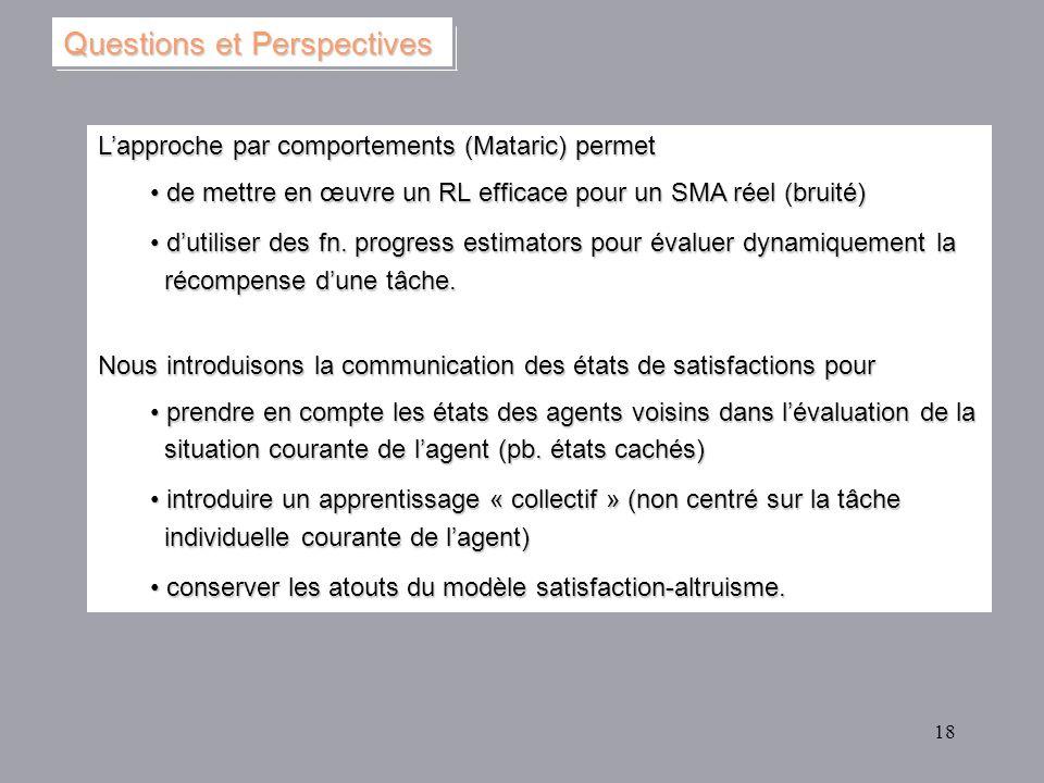 18 Lapproche par comportements (Mataric) permet de mettre en œuvre un RL efficace pour un SMA réel (bruité) de mettre en œuvre un RL efficace pour un