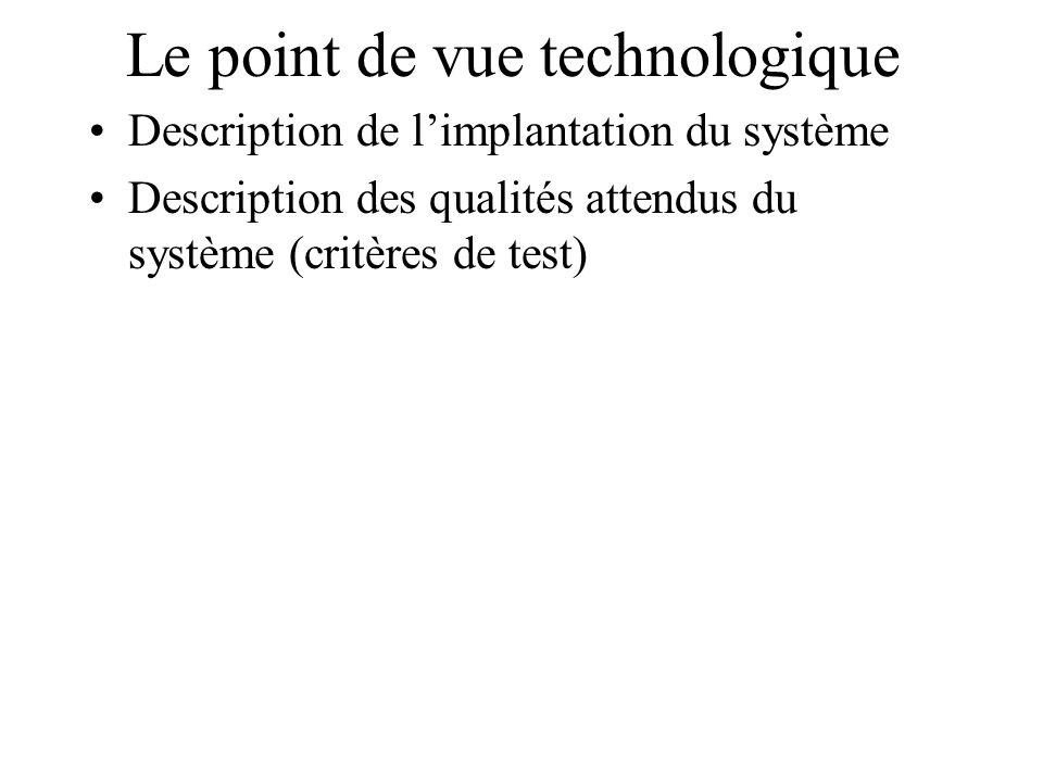 Le point de vue technologique Description de limplantation du système Description des qualités attendus du système (critères de test)