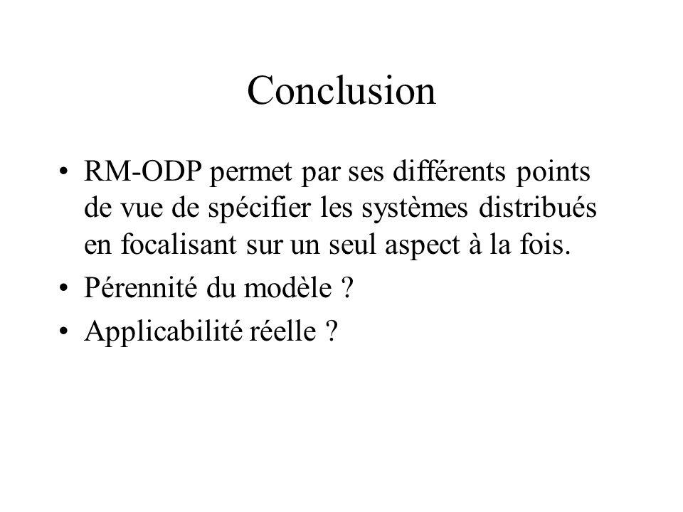 Conclusion RM-ODP permet par ses différents points de vue de spécifier les systèmes distribués en focalisant sur un seul aspect à la fois. Pérennité d