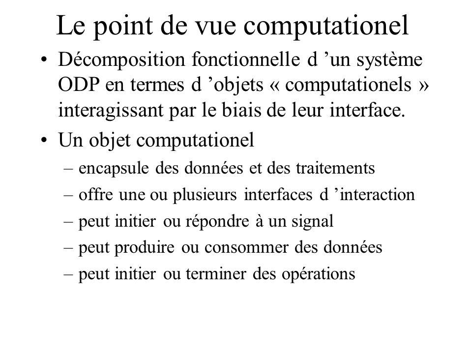 Le point de vue computationel (suite) Trois formes d interaction existent: –interface opérationnelle le client invoque une opération du serveur –interface de flux un flux continu de données entre un objet producteur et un consommateur –interface de signal les éléments primitifs de communication