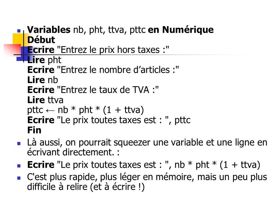 Variables nb, pht, ttva, pttc en Numérique Début Ecrire