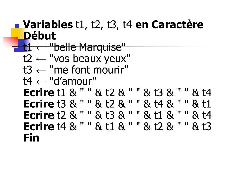 Variables t1, t2, t3, t4 en Caractère Début t1