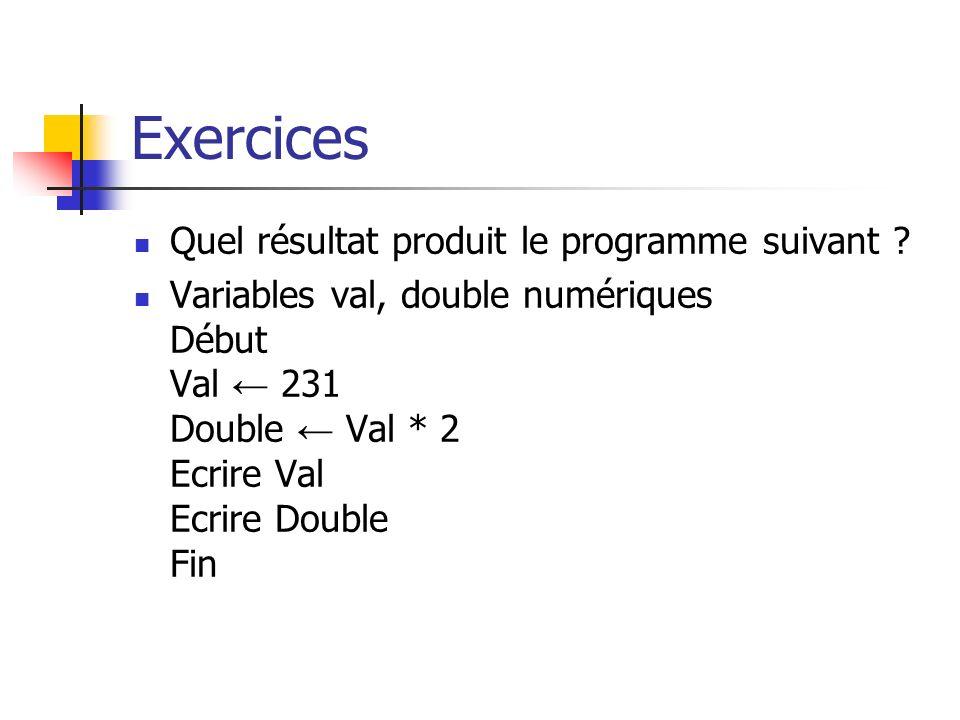 Exercices Quel résultat produit le programme suivant ? Variables val, double numériques Début Val 231 Double Val * 2 Ecrire Val Ecrire Double Fin