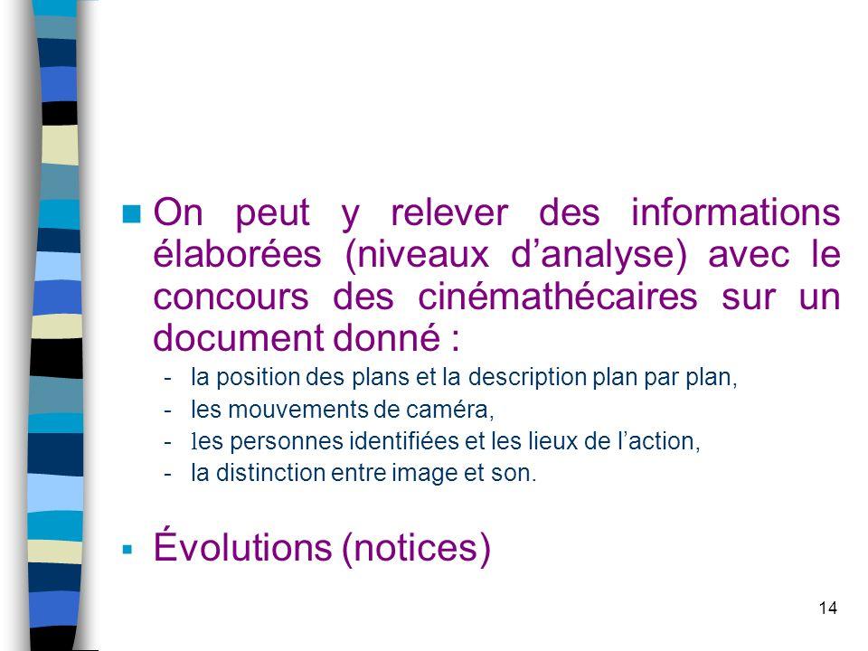 14 On peut y relever des informations élaborées (niveaux danalyse) avec le concours des cinémathécaires sur un document donné : -la position des plans
