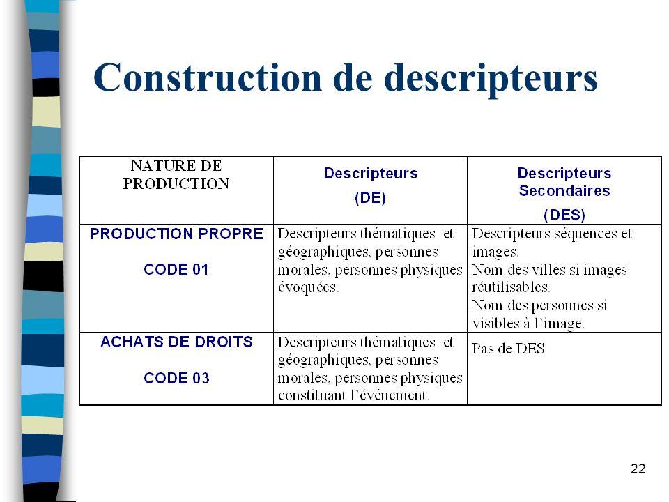 22 Construction de descripteurs