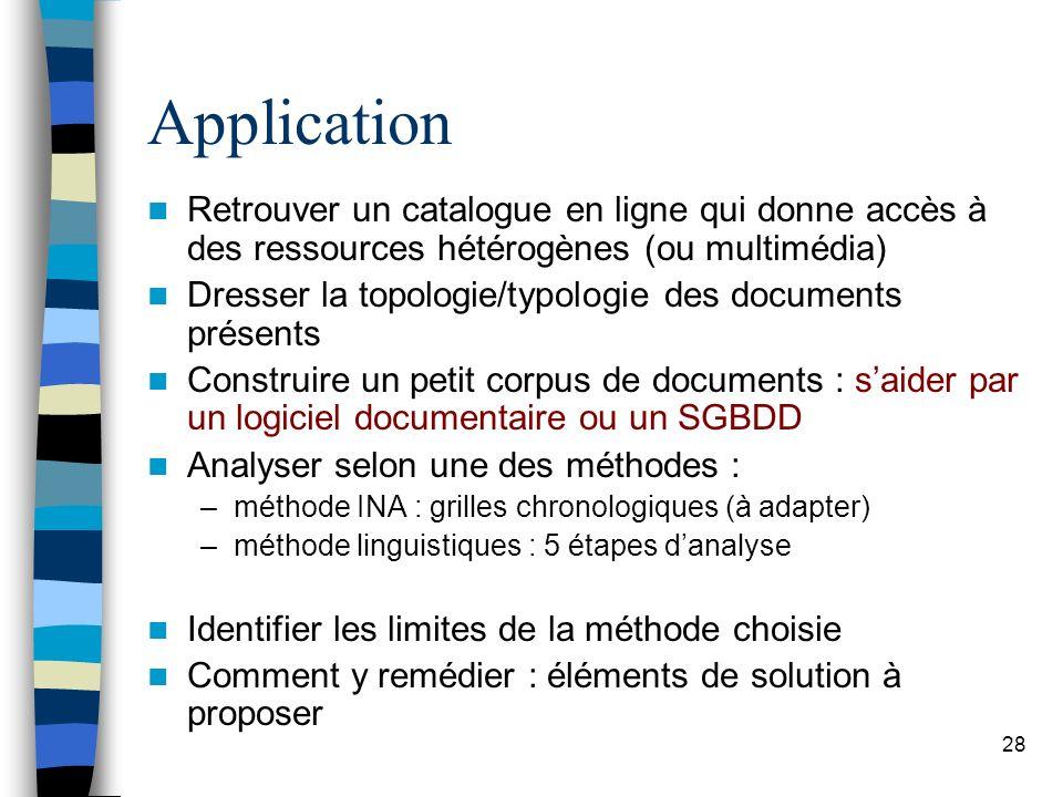 28 Application Retrouver un catalogue en ligne qui donne accès à des ressources hétérogènes (ou multimédia) Dresser la topologie/typologie des documen