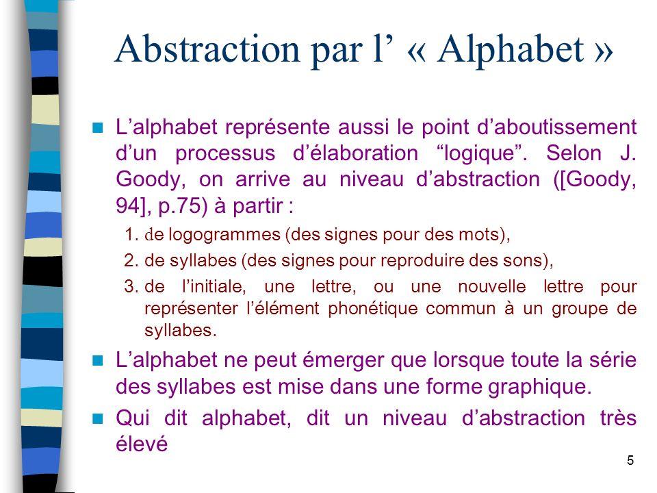 5 Abstraction par l « Alphabet » Lalphabet représente aussi le point daboutissement dun processus délaboration logique. Selon J. Goody, on arrive au n