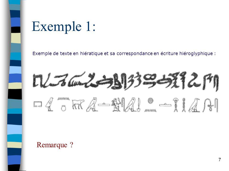 7 Exemple 1: Exemple de texte en hiératique et sa correspondance en écriture hiéroglyphique : Remarque ?