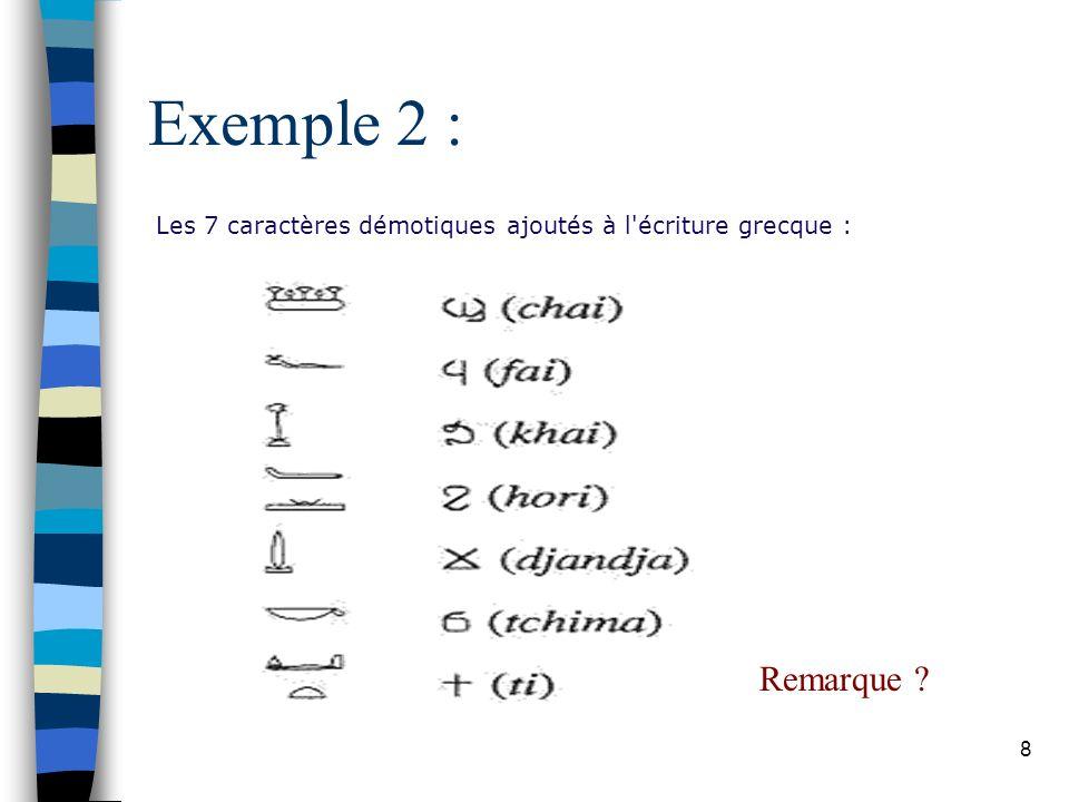 8 Exemple 2 : Les 7 caractères démotiques ajoutés à l écriture grecque : Remarque ?