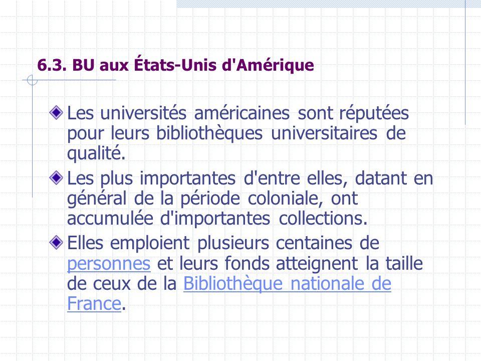 6.3. BU aux États-Unis d'Amérique Les universités américaines sont réputées pour leurs bibliothèques universitaires de qualité. Les plus importantes d