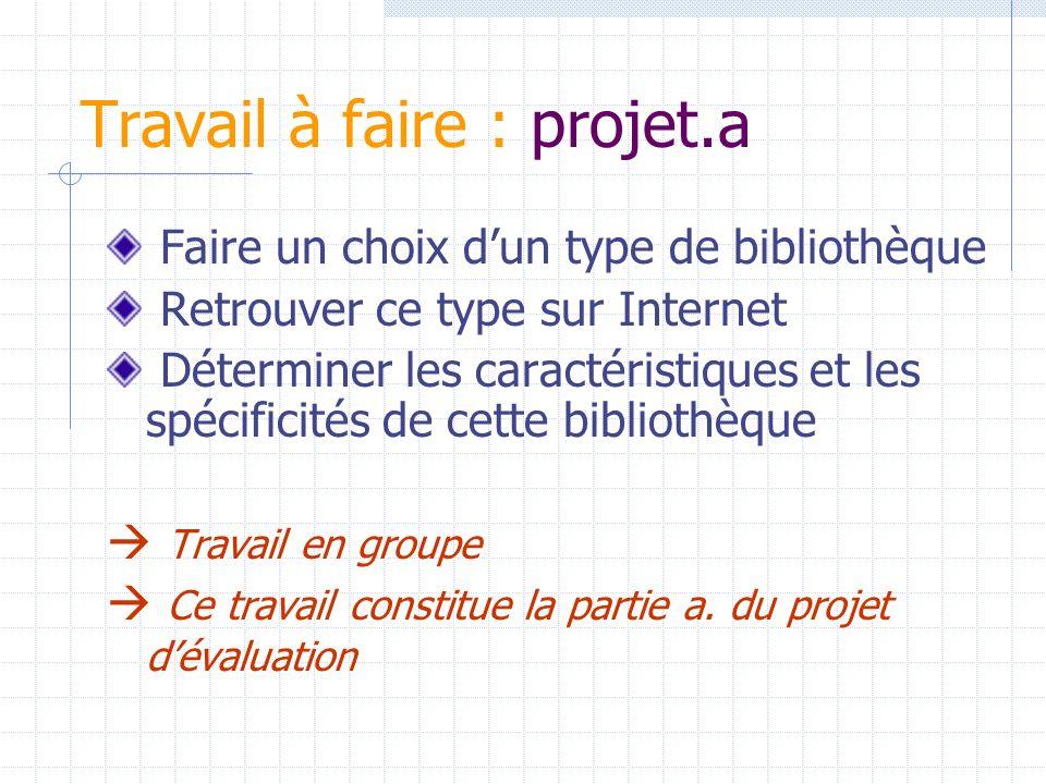 Travail à faire : projet.a Faire un choix dun type de bibliothèque Retrouver ce type sur Internet Déterminer les caractéristiques et les spécificités